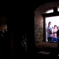Inside a dark cell at Cape Coast Castle.