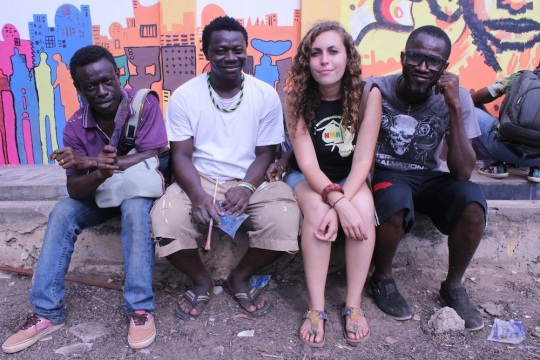 From right: A local artist, Musah Swallah, Robin Riskin and Larry Aminu of Nima Muhinmanchi Art.